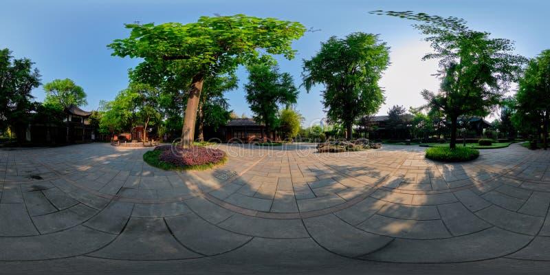 360 grad panorama av Wangjianglou parkerar Chengdu Sichuan, Kina royaltyfria foton