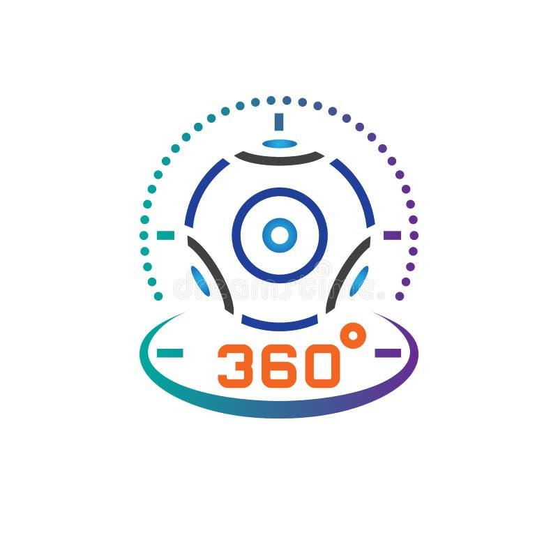 360 grad panorama- videokameralinje symbol, illustration för logo för vektor för virtuell verklighetapparatöversikt, linjär picto stock illustrationer