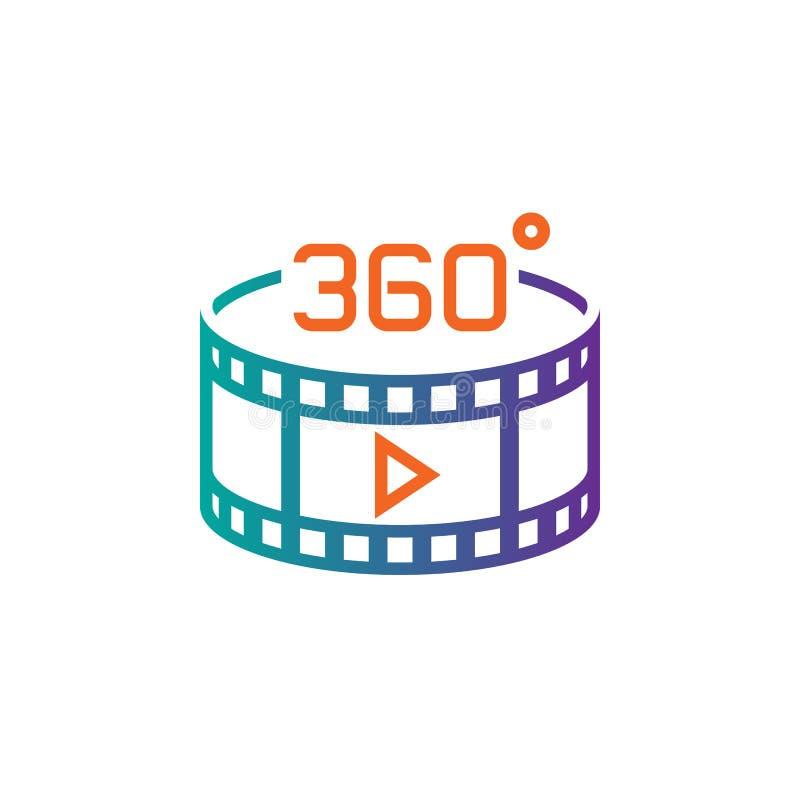 360 grad panorama- videopn tecken fodra symbolen, illustrationen för översiktsvektorlogoen, den linjära pictogramen som isoleras  stock illustrationer