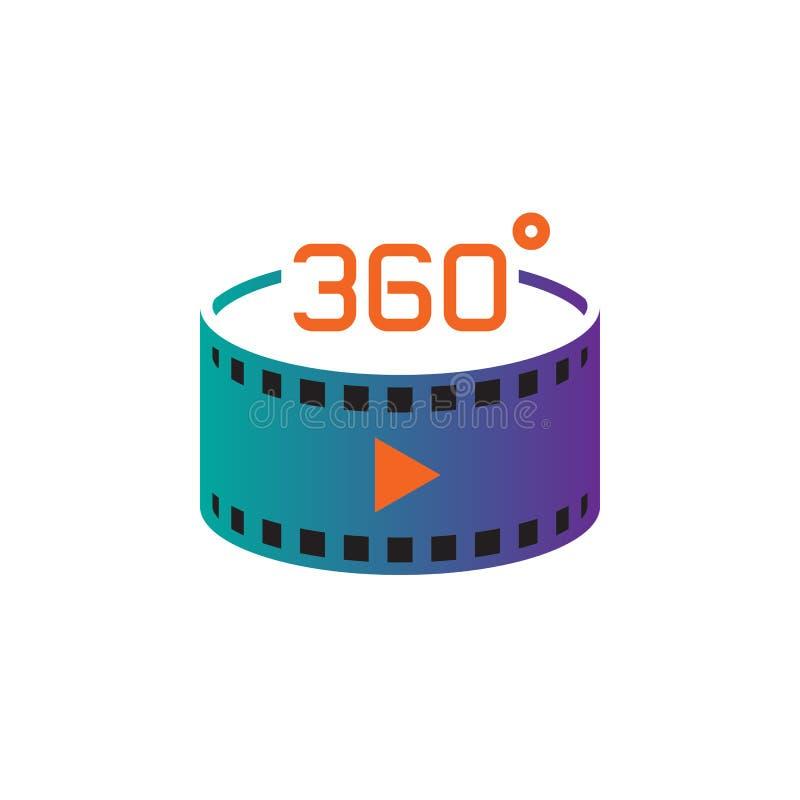 360 grad panorama- videopn tecken vektorsymbol, fast logoillustration, pictogram som isoleras på vit royaltyfri illustrationer