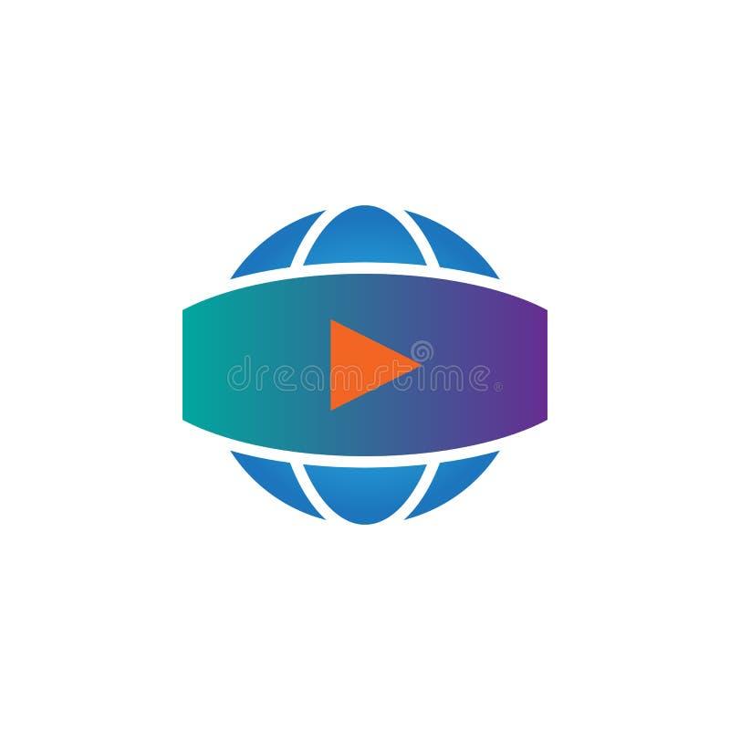 360 grad panorama- videopn tecken vektorsymbol, fast logoillustration, pictogram som isoleras på vit stock illustrationer