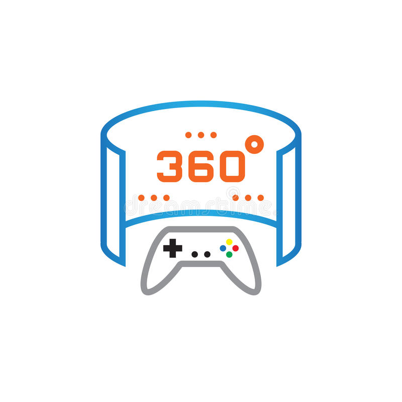 360 grad panorama- videospellinje symbol, illustration för översiktsvektorlogo, linjär pictogram som isoleras på vit royaltyfri illustrationer