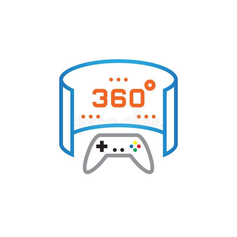 360-Grad-panoramische Videospiellinie Ikone, Entwurfsvektor-Logoillustration, lineares Piktogramm lokalisiert auf Weiß lizenzfreie abbildung