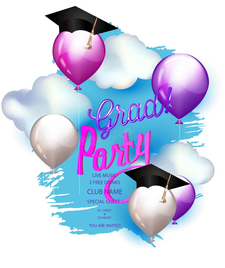 Grad party bright banner with air balloons, clouds and sky on the background. royalty free illustration