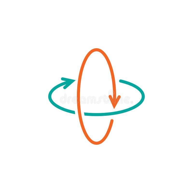 360 grad rotationspilar fodrar symbolen, illustrationen för logoen för virtuell verklighetöversiktsvektorn, den linjära pictogram royaltyfri illustrationer