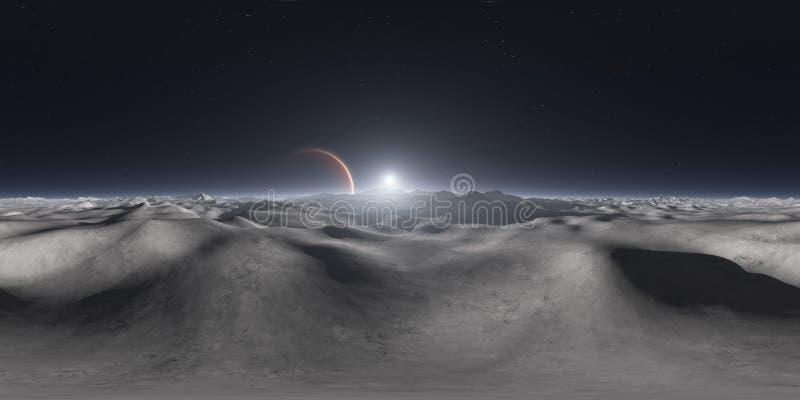 360 grad sikt från Jupiter måne, equirectangular projektion, miljööversikt Sfärisk panorama för HDRI Natthimmel med massor av stj stock illustrationer