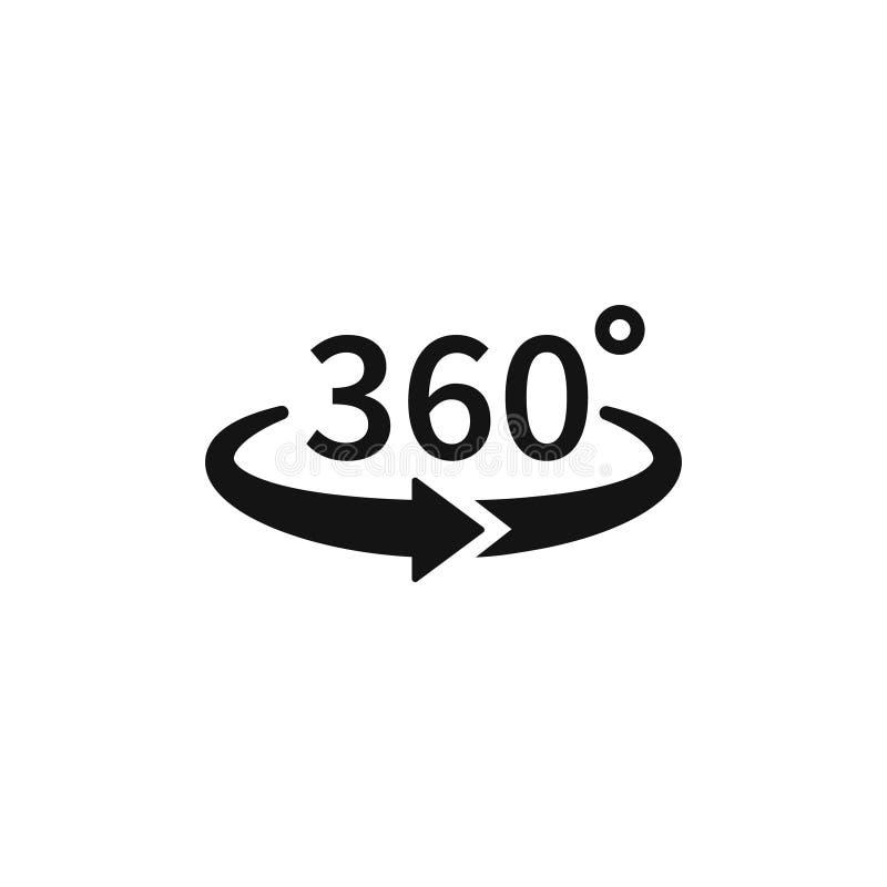 360 grad sikter av vektorn cirklar symboler som isoleras från bakgrunden Tecken med pilar att indikera rotationen eller stock illustrationer