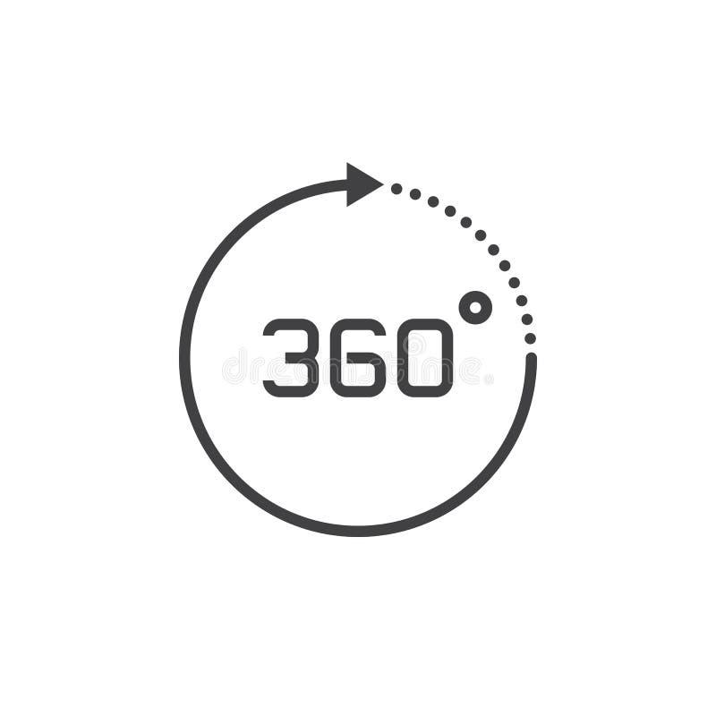 360 grad siktstecken vektorsymbol, fast logoillustration, pict royaltyfri illustrationer