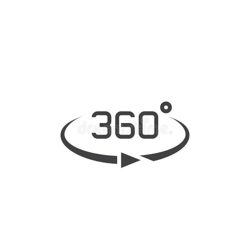 360 grad siktstecken vektorsymbol, fast logoillustration, pict stock illustrationer