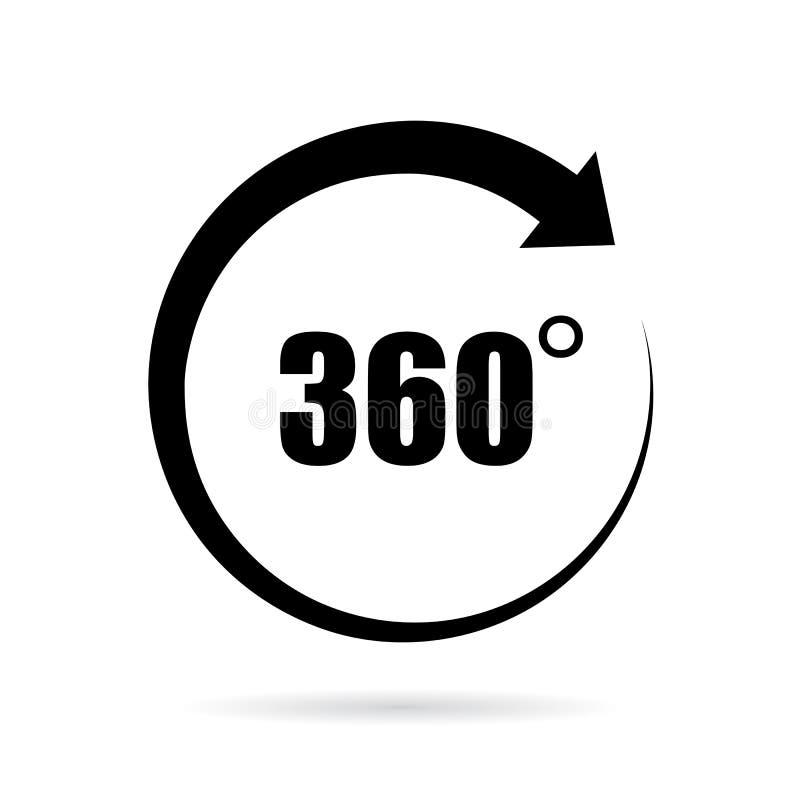 360 grad vektorsymbol stock illustrationer