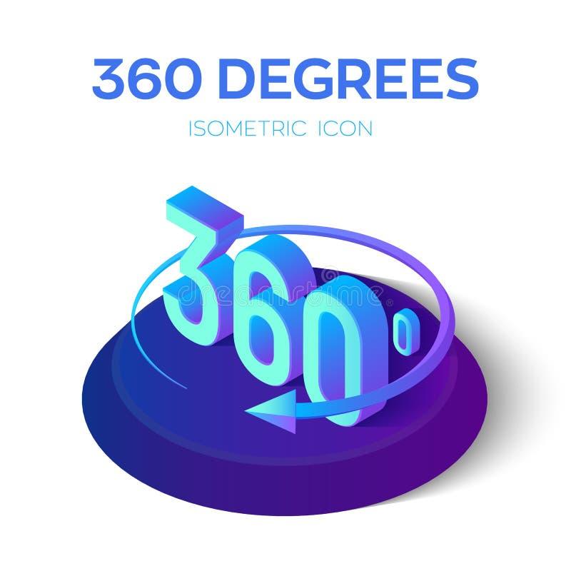 360 Grad Zeichen isometrischer Winkel 3d 360 Grad Ansichtikone Virtuelle Realität Geometriemathesymbol Geschaffen für Mobile, Net lizenzfreie abbildung