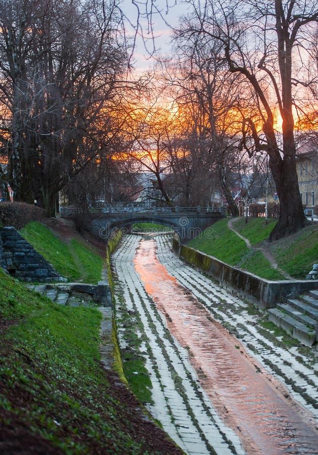 Gradascica river, Ljubljana, Slovenia. Gradascica river in sunset colours, Ljubljana, Slovenia stock images