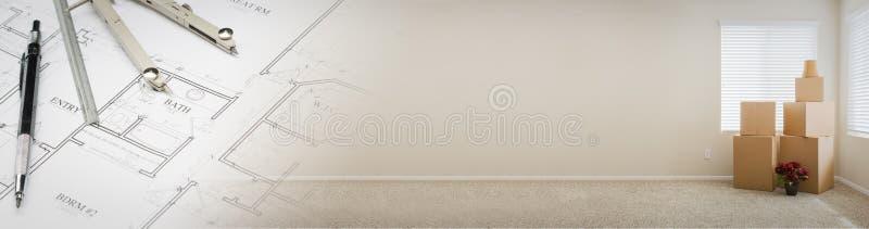 Gradated-Fahne mit Haus-Plänen und leerer Raum mit Kästen lizenzfreie stockbilder