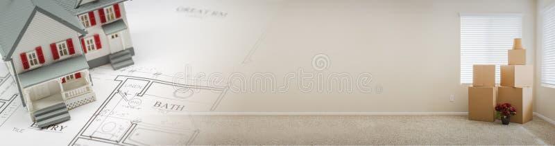 Gradated-Fahne mit vorbildlichem Home, Haus-Plänen und leerem Raum mit stockbild