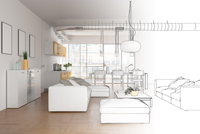Gradation moderne de dessin de grenier de conception intérieure dans la photographie illustration stock