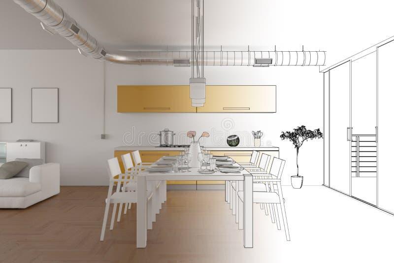 Gradation moderne de dessin de grenier de conception intérieure dans la photographie illustration libre de droits