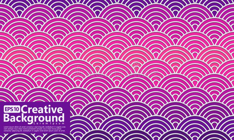 Gradation overlapping circles tile design vector, shapes seamless geometric pattern. background stock illustration