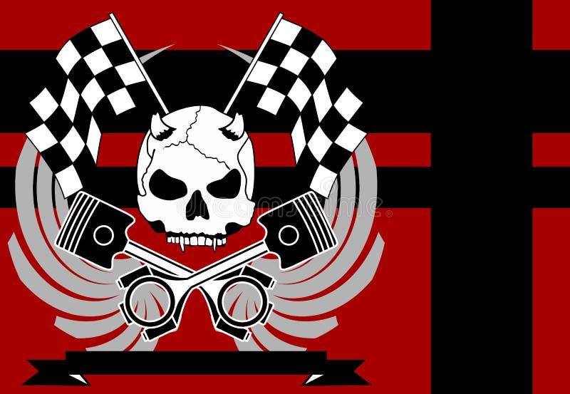 Gradbeteckning background4 för tatuering för racerbilavbrytarskalle vektor illustrationer