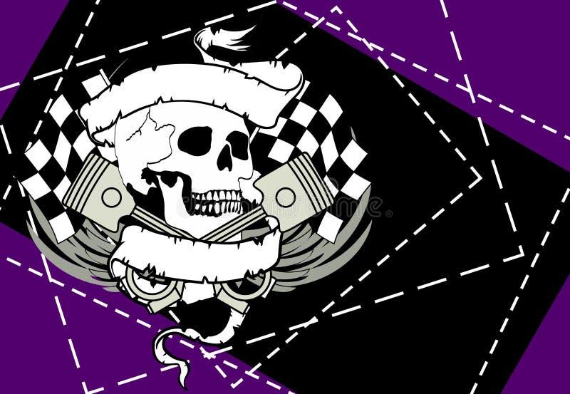 Gradbeteckning background5 för tatuering för racerbilavbrytarskalle vektor illustrationer