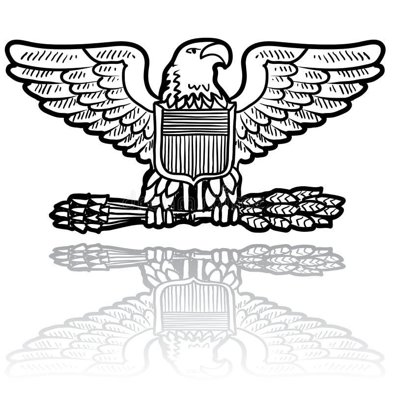 Gradbeteckning för US-arméörn stock illustrationer