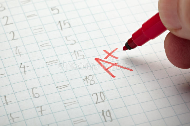 Download Grade stock image. Image of positive, book, exam, pencil - 19856619