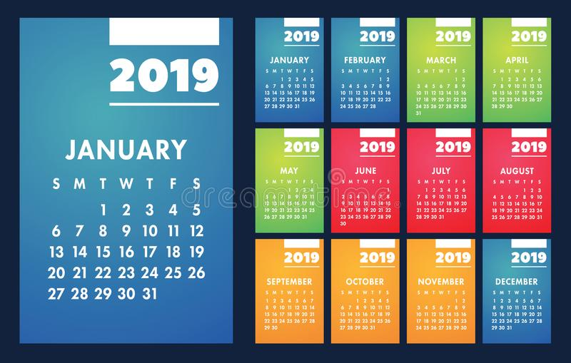 Grade básica do vetor do calendário 2019 Molde do projeto simples ilustração royalty free