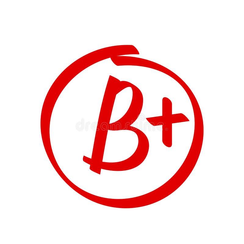 Grade B Plus result vector icon. School red mark handwriting B plus circle royalty free illustration