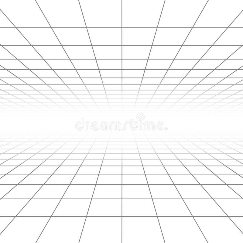 A grade da perspectiva do teto e do assoalho vector linhas, wireframe da arquitetura ilustração stock