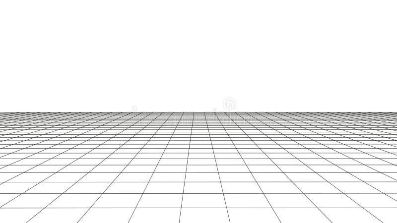 Grade da perspectiva do vetor com linhas detalhadas ilustração stock