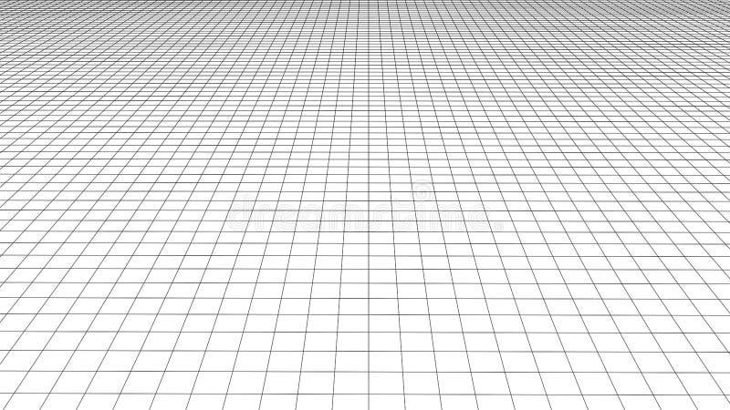 Grade da perspectiva do vetor Linhas detalhadas no fundo branco ilustração do vetor