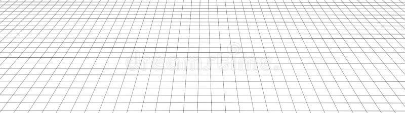 Grade da perspectiva do vetor Linhas detalhadas no fundo branco Ilustra??o do tela panor?mico ilustração stock