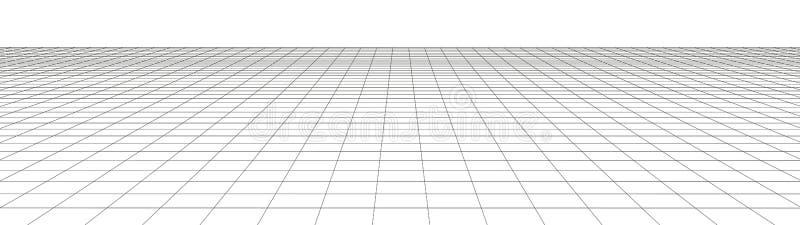 Grade da perspectiva do vetor Linhas detalhadas no fundo branco Ilustra??o do tela panor?mico ilustração do vetor