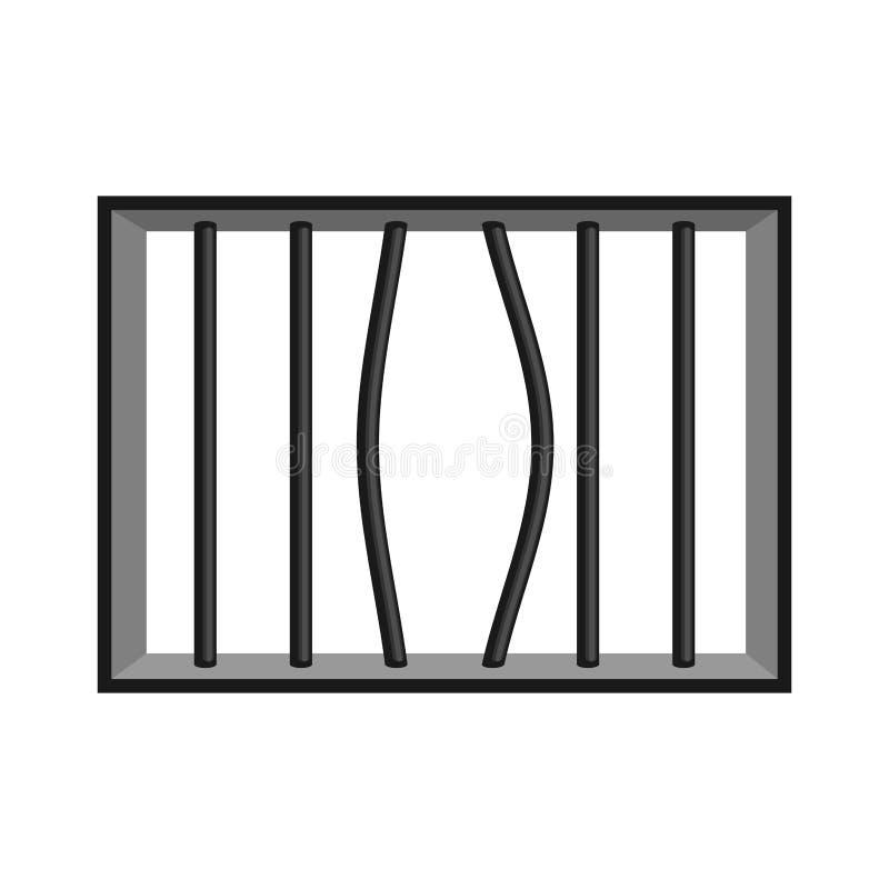 Grade da prisão isolada Janela na prisão com barras Ruptura da cadeia ilustração stock