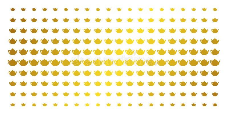 Grade da reticulação do ouro do bule ilustração do vetor