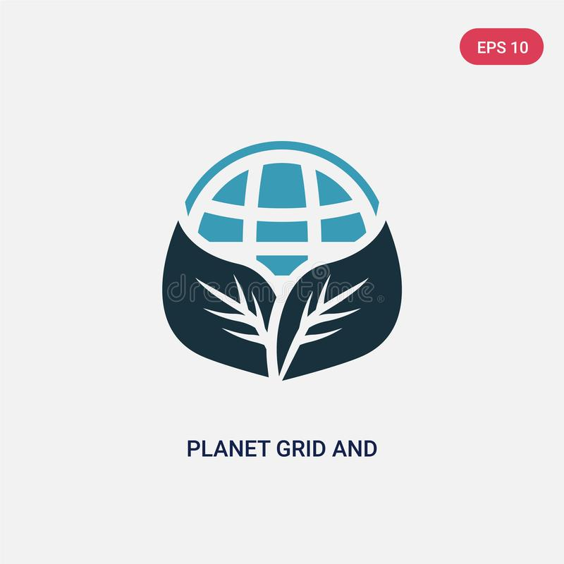 Grade de duas cores do planeta e um ícone do vetor da folha do conceito dos sinais a grade azul isolada do planeta e um símbolo d ilustração royalty free