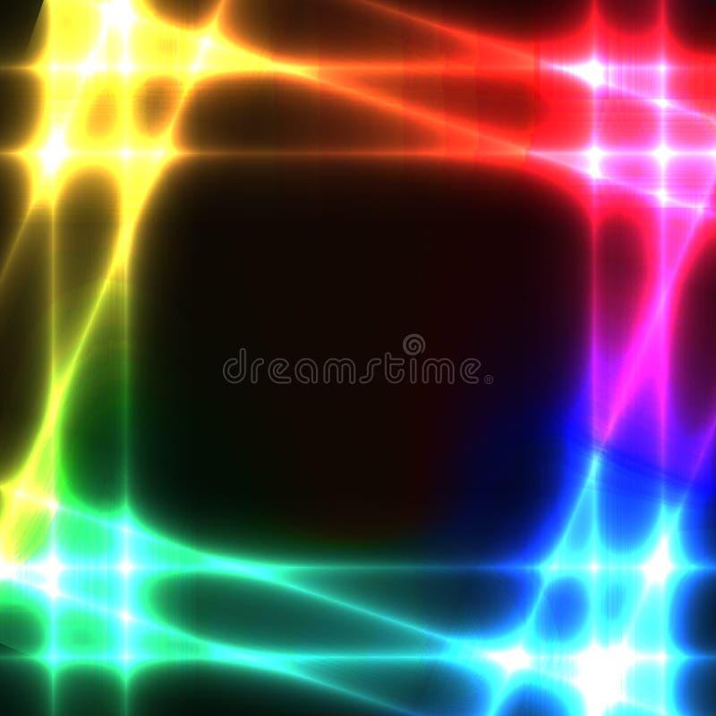 Grade de néon do arco-íris no fundo escuro - molde ilustração do vetor