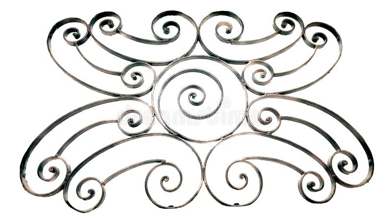 Grade decorativa do metal isolada no branco foto de stock