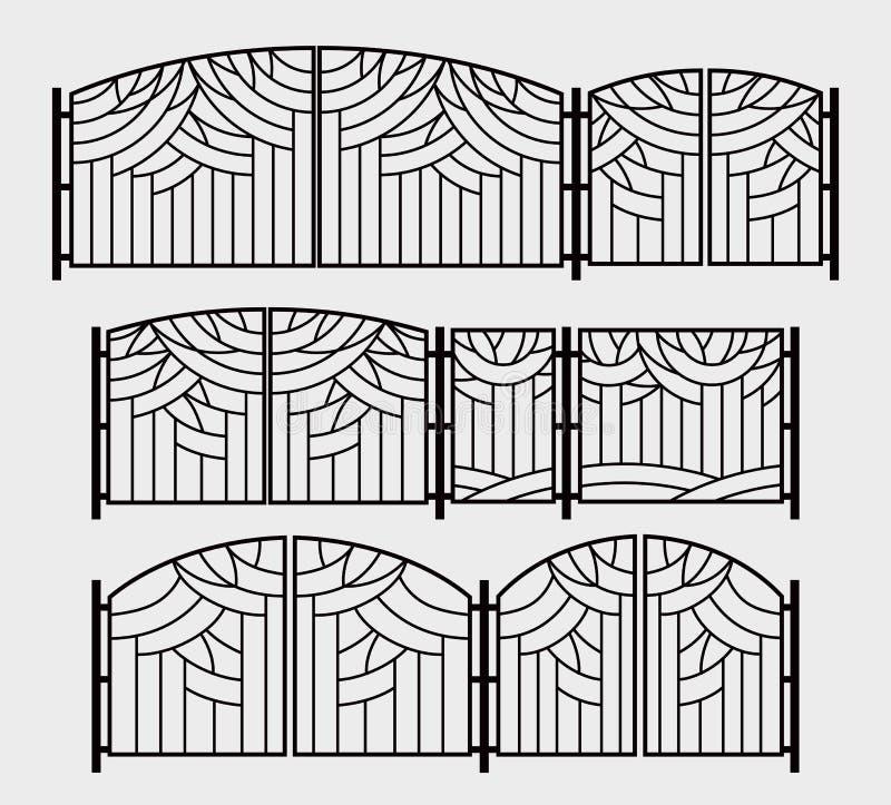 Grade decorativa para portas, wicket ou uma grelha da chaminé Gráficos estilizados das árvores no parque ilustração do vetor