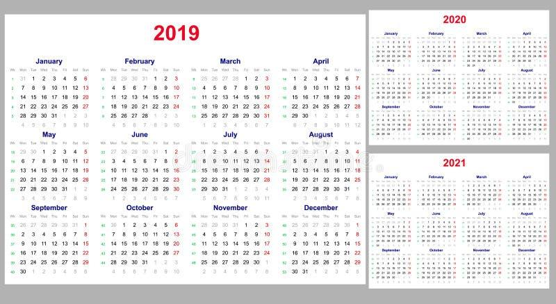 Grade do calendário por 2019, 2020 e 2021 anos ajustados Os começos da semana em segunda-feira De um dia fora - de domingo Molde  ilustração do vetor