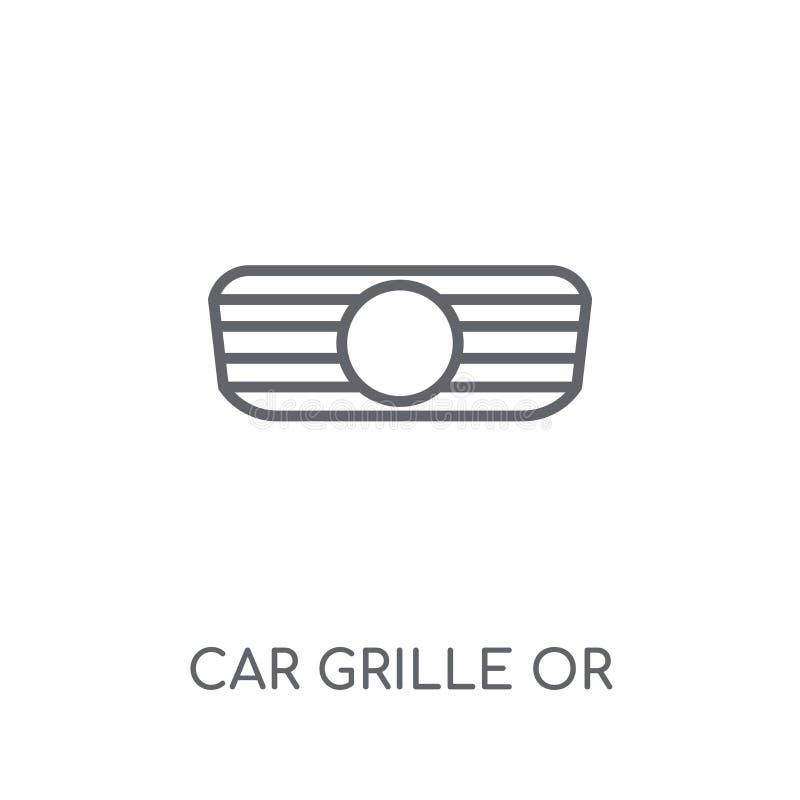 grade do carro ou ícone linear da grade de radiador Carro moderno GR do esboço ilustração royalty free