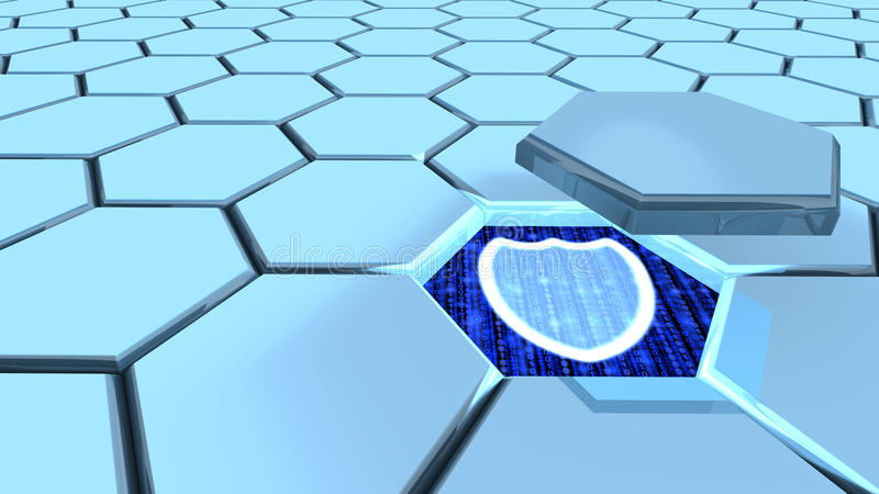 Grade do hexágono da segurança da informação ilustração do vetor