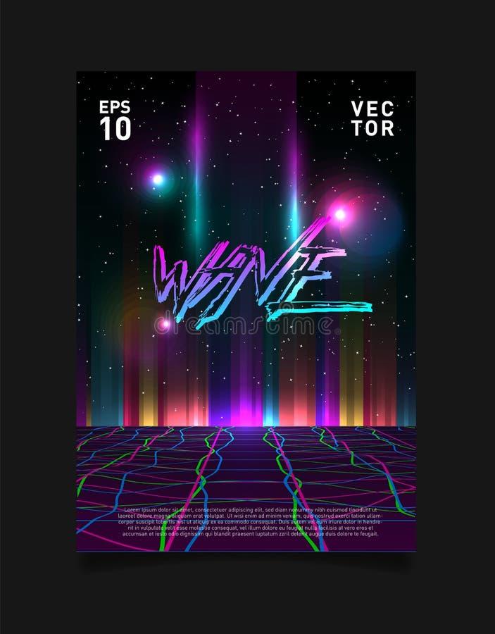 Grade do laser de Glitched do synthwave do vaporwave de Retrowave e horizonte colorido de incandescência no espaço Projeto para o ilustração stock
