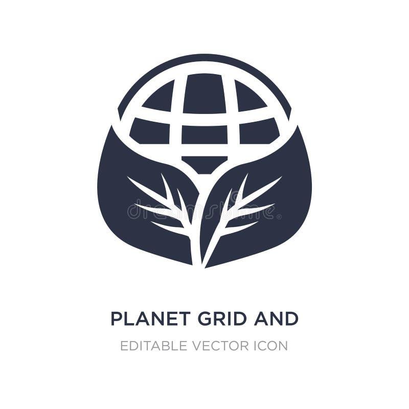 grade do planeta e um ícone da folha no fundo branco Ilustração simples do elemento do conceito dos sinais ilustração stock
