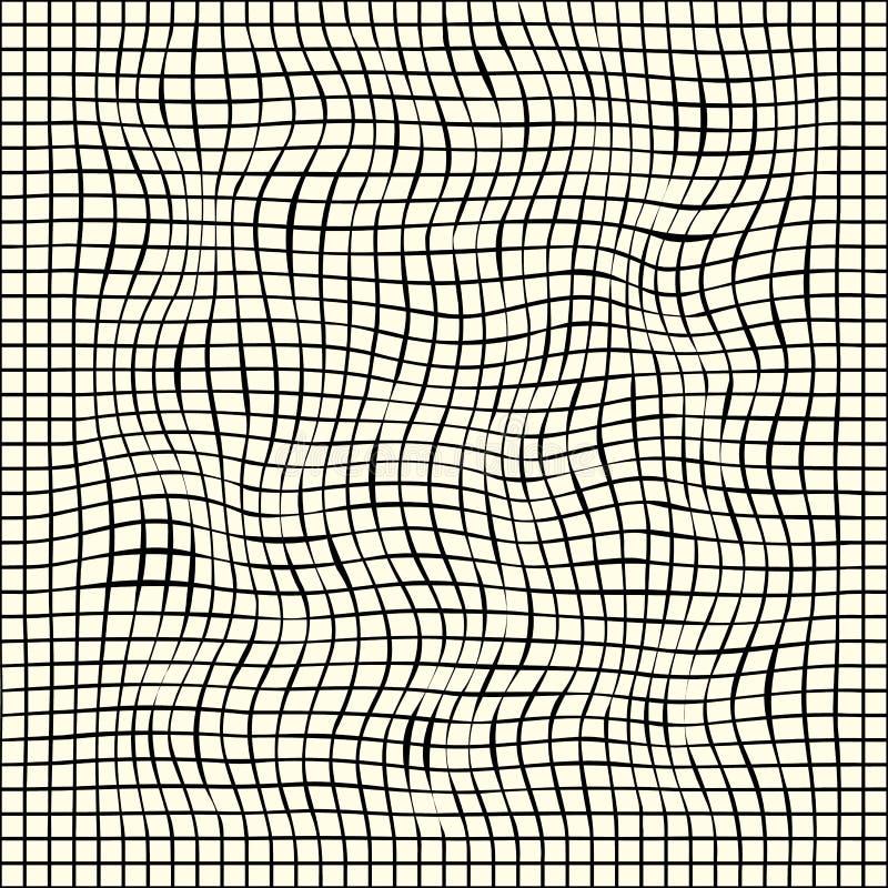 Grade do vetor de linhas escuras finas, cruzando-se Deformada ondulada, distorcido, entortado Grade com a capacidade para cobrir ilustração do vetor