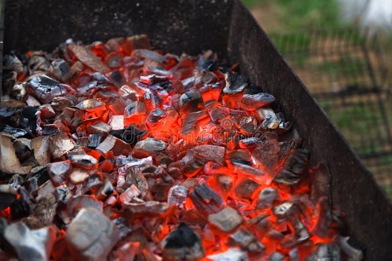 Grade e carvão vegetal ardente Piquenique ao ar livre fotografia de stock royalty free