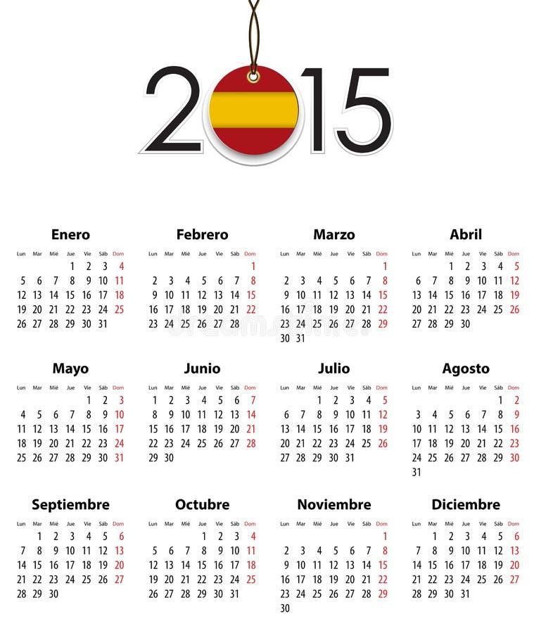 Grade espanhola do calendário para 2015 com a bandeira como a etiqueta ilustração do vetor