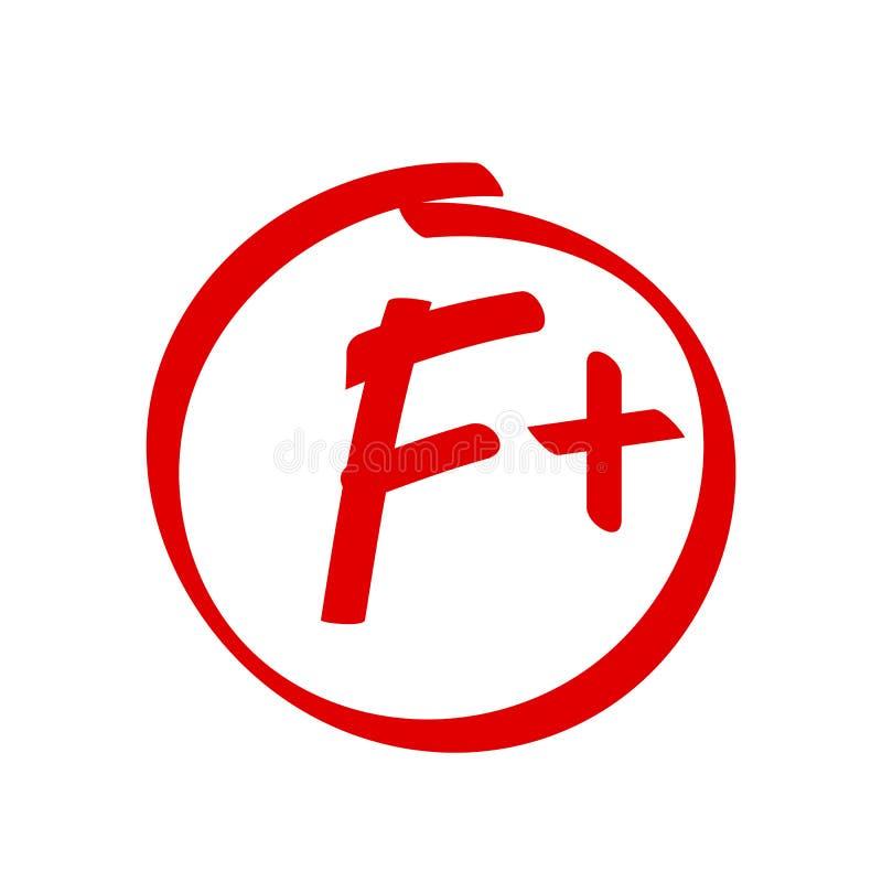 Grade F Plus result vector icon. School red mark handwriting F plus circle royalty free illustration