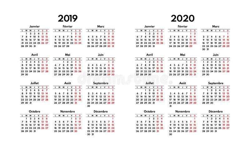 A grade francesa simples do calendário 2019 2020, começa segunda-feira ilustração do vetor