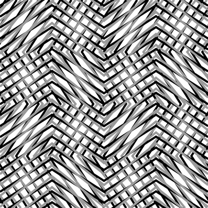Grade, malha, do ziguezague, linhas nervosas O mosaico gosta da grade, vagabundos grating ilustração royalty free