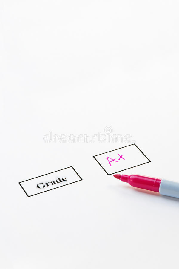 Grade A+. On paper with a felt pen stock photo